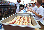 "Hotdogs await to be eaten during the Bright Leaf Hot Dog Eating Contest on Sunday, July 3, 2011. ""I've been training for this all my life,"" said Thomas. Photo by Al Drago."