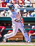 14 March 2014: Detroit Tigers outfielder Torii Hunter at bat during a Spring Training Game against the Washington Nationals at Joker Marchant Stadium in Lakeland, Florida. The Tigers defeated the Nationals 12-6 in Grapefruit League play. Mandatory Credit: Ed Wolfstein Photo *** RAW (NEF) Image File Available ***