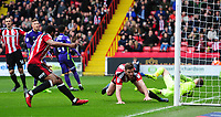 Sheffield United's Jack O'Connell collides with the goalpost as he celebrates scoring his sides equalising goal to make the score 1-1 with team-mate Ethan Ebanks-Landell<br /> <br /> Photographer Chris Vaughan/CameraSport<br /> <br /> The EFL Sky Bet League One - Sheffield United v Charlton Athletic - Saturday 18th March 2017 - Bramall Lane - Sheffield<br /> <br /> World Copyright &copy; 2017 CameraSport. All rights reserved. 43 Linden Ave. Countesthorpe. Leicester. England. LE8 5PG - Tel: +44 (0) 116 277 4147 - admin@camerasport.com - www.camerasport.com