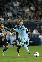 Sporting KC forward C J Sapong in action..Sporting Kansas City defeated Philadelphia Union 2-1 at LIVESTRONG Sporting Park, Kansas City, KS.