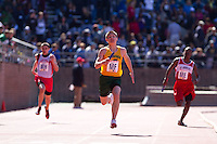 Phillip Claudy anchors the St. Patrick team to victory in the Philadelphia Archdiocese Senior Boys 4x100 at the Penn Relays on April 23. Patrick Timlin, Alex Giarrocco, Andrew Curry ran the first three legs respectively. St. Patrick of Kennett Square finished in a time of 47.60 seconds.