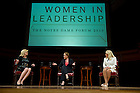 """Sept.16, 2013; Moderator Anne Thompson, of NBC News, Honorable Michele Flournoy and General Ann Dunwoody (right) speak on the topic """"Getting to the Top at the Pentagon,"""" part of the 2013-14 Notre Dame Forum: """"Women in Leadership"""" in Leighton Concert Hall at DeBartolo Performing Arts Center. Photo by Barbara Johnston/University of Notre Dameotre Dame"""