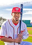 28 February 2016: Washington Nationals outfielder Ben Revere poses for his Spring Training Photo-Day portrait at Space Coast Stadium in Viera, Florida. Mandatory Credit: Ed Wolfstein Photo *** RAW (NEF) Image File Available ***