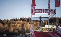 European Champion Toon Aerts (BEL/Telenet-Fidea) play-jumping mid-race<br /> <br /> 2016 CX Superprestige Spa-Francorchamps (BEL)