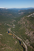 """Truckee River Aerial"" - Photograph of the Truckee River in Tahoe, shot from an amphibious seaplane with the door removed."
