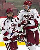 Devin Tringale (Harvard - 22), Wiley Sherman (Harvard - 25) - The Harvard University Crimson defeated the US National Team Development Program's Under-18 team 5-2 on Saturday, October 8, 2016, at the Bright-Landry Hockey Center in Boston, Massachusetts.