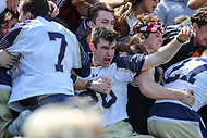 Annapolis, MD - April 15, 2017: Navy Midshipmen Steve Hincks (28) celebrates after the game between Army vs Navy at  Navy-Marine Corps Memorial Stadium in Annapolis, MD.   (Photo by Elliott Brown/Media Images International)