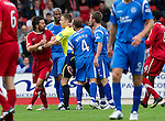 St Johnstone v Aberdeen...21.08.10  .Ref Steven McLean separates Paul Hartley and Jody Morris .Picture by Graeme Hart..Copyright Perthshire Picture Agency.Tel: 01738 623350  Mobile: 07990 594431
