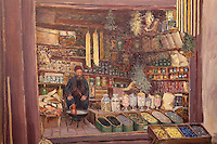 Painting of a sephardic Jewish shopkeeper, 19th century, from the Sephardic Old Synagogue, built 1587, which now houses a museum, Sarajevo, Bosnia and Herzegovina. Picture by Manuel Cohen
