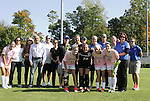 23 October 2011: Duke's four seniors (front row) Ashley Rape (23), Emily Nahas (20), Molly Mack (11) and Chelsea Canepa (22) pose with family members (including underclassman Avery Rape, 13) and team coaches as part of Duke's Senior Day. The Duke University Blue Devils defeated the University of Maryland Terrapins 3-1 at Koskinen Stadium in Durham, North Carolina in an NCAA Division I Women's Soccer game.