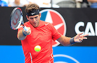 Juan Martin del Potro of Argentina returns to Dmitry Tursunov of Russia during their semi-final match at the Sydney International tennis tournament, Jan. 10, 2014.  Daniel Munoz/Viewpress IMAGE RESTRICTED TO EDITORIAL USE ONLY