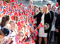 Crown Prince Haakon and Crown Princess Mette-Marit of Norway iarrive at Tvedestrand Harbour during a three day visit, to the county of Aust-Agder in Southern Norway..