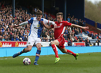 Blackburn Rovers' Connor Mahoney has his cross blocked by Bristol City's Joe Bryan<br /> <br /> Photographer Stephen White/CameraSport<br /> <br /> The EFL Sky Bet Championship - Blackburn Rovers v Bristol City - Monday 17th April 2017 - Ewood Park - Blackburn<br /> <br /> World Copyright &copy; 2017 CameraSport. All rights reserved. 43 Linden Ave. Countesthorpe. Leicester. England. LE8 5PG - Tel: +44 (0) 116 277 4147 - admin@camerasport.com - www.camerasport.com