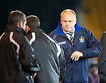 St Johnstone v Kilmarnock....06.11.10  .Mixu Paatelainen shakes hands with Derek McInnes and Tony Docherty at full time.Picture by Graeme Hart..Copyright Perthshire Picture Agency.Tel: 01738 623350  Mobile: 07990 594431
