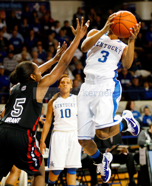 Crystal Riley goes up for a layup in the first half of the UK women's basketball team's game against the South Carolina Gamecocks at Memorial Colisiuem  on Jan. 13, 2011. Photo by Britney McIntosh | Staff