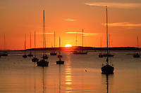 Camden, Maine, harbor with boats sunrise