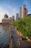 Jogger, Hudson River Park, South Cove,  Manhattan, New York City, New York, USA, On the Esplanade, between First Place and Third Place