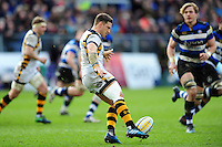 Jimmy Gopperth of Wasps puts boot to ball. Aviva Premiership match, between Bath Rugby and Wasps on March 4, 2017 at the Recreation Ground in Bath, England. Photo by: Patrick Khachfe / Onside Images