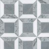 Lauren, a stone mosaic, shown in Carrara. Bardiglio, Thassos, is part of the Ann Sacks Beau Monde collection sold exclusively at www.annsacks.com