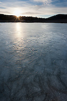 """Frozen Prosser Reservoir Sunset 2"" - A sunset photograph of an icy frozen over Prosser Reservoir in Truckee, CA."