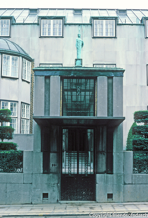 Josef Hoffmann: Palais Stoclet, Brussels. Street entrance. Photo '87.