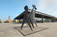 Tetes et Queue, 1965, sculpture by Alexander Calder, 1898-1976, at the Neue Nationalgalerie or New National Gallery, a modern art museum at the Kulturforum in West Berlin, Germany. The building and its sculpture gardens were designed by Ludwig Mies van der Rohe, 1886-1969, and opened in 1968. In the background is the St Matthaus-Kirche. Picture by Manuel Cohen