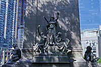 USS Maine National Monument at the Merchant's Gate entrance to Central Park, on Columbus Circle, designed by architect Harold Van Buren Magonigle and sculpted by Attilio Piccirilli, Central Park, Manhattan, New York City, New York, USA
