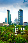 Elevated view of Chapultepec Park and the modern buildings of Paseo de la Reforma viewed from the Chapultepec Castle.