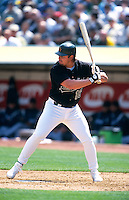OAKLAND, CA - Jason Giambi of the Oakland Athletics bats during a game at the Oakland Coliseum in Oakland, California on April 5, 2000. Photo by Brad Mangin