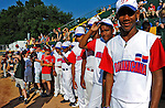 2 July 2011: Members of a visiting Dominican Republic youth Team stand on the sidelines prior to a game between the Vermont Lake Monsters and the Tri-City ValleyCats at Centennial Field in Burlington, Vermont. The Lake Monsters rallied from a 4-2 deficit to defeat the ValletCats 7-4 in NY Penn League action. Mandatory Credit: Ed Wolfstein Photo