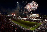 Stanford, California - Saturday June 30, 2012: Post game fireworks at Stanford Stadium, Stanford, Ca.San Jose Earthquakes defeated Los Angeles Galaxy,  4 to 3