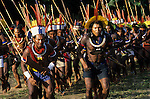 Altamira, Brazil. Group of Indian tribesmen in ceremonial dance.