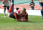 Bradley Davies dives over. Shane Williams Testimonial match 0508 © Ian  Cook, IJC Photography, www.ijcphotography.co.uk, iancook@ijcphotography.co.uk.