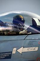 Pilot  in cockpit of Lockheed Martin F-16 Fighting Falcon from Dutch Air Force 349 squadron.  BOLD AVENGER 2007 (BAR 07), a NATO  air exercise at Ørland Main Air Station, Norway. BAR 07 involved air forces from 13 NATO member nations: Belgium, Canada, the Czech Republic, France, Germany, Greece, Norway, Poland, Romania, Spain, Turkey, the United Kingdom and the United States of America. The exercise was designed to provide training for units in tactical air operations, involving over 100 aircraft, including combat, tanker and airborne early warning aircraft and about 1,450 personnel.