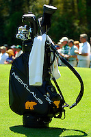 Masters Golf Tournament 2005, Augusta National Georgia, USA. Jack Nicklaus golf bag, he uses Jack Nicklaus clubs.<br /> <br /> Champion 2005 - Tiger Woods <br /> <br /> Note: There is no property release or model release available for this image.