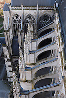 Flying buttresses, Amiens Cathedral, 13th century, Amiens, Somme, Picardie, France. Picture by Manuel Cohen