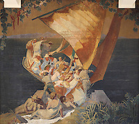 Fresco of a boating party, 1931, by Maurice Guy-Loe, pseudonym of Maurice Guyot, 1898-1991, in the Salon de Musique or Music Room of the Fondation Deutsch de la Meurthe, designed by Lucien Bechmann, 1880-1968, built 1923-35 and inaugurated in 1925, in the Cite Internationale Universitaire de Paris, in the 14th arrondissement of Paris, France. This was the first residence built at CIUP and was influenced by the style of English University colleges at Oxford and consists of 7 pavilions around a garden. The buildings are listed as a historic monument. The CIUP or Cite U was founded in 1925 after the First World War by Andre Honnorat and Emile Deutsch de la Meurthe to create a place of cooperation and peace amongst students and researchers from around the world. It consists of 5,800 rooms in 40 residences, accepting another 12,000 student residents each year. Picture by Manuel Cohen. Further clearances may be requested.