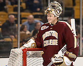 "Thatcher Demko (BC - 30) smiles at the BU student section's ""Ugly Goalie"" chant. - The Boston College Eagles defeated the Boston University Terriers 3-1 (EN) in their opening round game of the 2014 Beanpot on Monday, February 3, 2014, at TD Garden in Boston, Massachusetts."