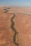 A creek leading to Lake Eyre. Desert part of the Anna Creek property near Lake Eyre.