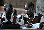Girls in a classroom in Detang, a small village across the Upper Nile River from Malakal, in Southern Sudan. Teachers in this school are participating in a training program run by Solidarity with Southern Sudan, an international network of Catholic groups supporting Southern Sudan with educational personnel and prayer.