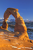 Delicate Arch with La Sal Mountains in background, Arches National Park, Utah.