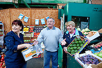 26/8/2011. Dublin Fruit and Vegetable Market. Niamh, Joe and Anna Lawlor of J and N Lawlor have been working at the Dublin Fruit and Vegetable Market. for over 40 years. Picture James Horan/Collins Photos