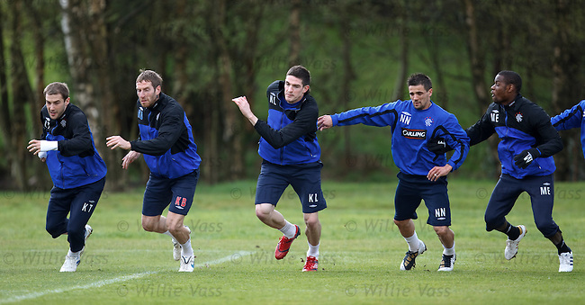 Kevin Thomson, Kirk Broadfoot, Kyle Lafferty, Nacho Novo and Maurice Edu on the lines at sprint training