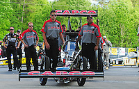 May 4, 2012; Commerce, GA, USA: NHRA crew members for top fuel dragster driver Steve Torrence during qualifying for the Southern Nationals at Atlanta Dragway. Mandatory Credit: Mark J. Rebilas-