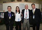 28 August 2006: The 2006 inductees pose for a shot before the ceremony. From left: Builder Philip Anschutz and players Carla Overbeck, Al Trost, and Alexi Lalas. The National Soccer Hall of Fame Induction Ceremony was held at the National Soccer Hall of Fame in Oneonta, New York.