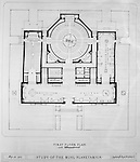 Pittsburgh PA:  View of a drawing created by Ingram & Boyd Architects of the new Buhl Planetarium.  This view is the proposed 1st floor layout of the planetarium. The project was completed in 1939.  The Buhl Planetarium was built with monies from the Buhl Foundation; a foundation created by the wealthy North Side clothier Henry Buhl of Boggs and Buhl department store fame.  Brady Stewart was selected for the job due to his specialized equipment; an 8x10 Dierdorff camera, and his expertise in lighting and photographing large renderings and drawings.