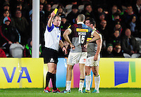Referee Dean Richards shows Aaron Morris of Harlequins a yellow card. Aviva Premiership match, between Harlequins and Leicester Tigers on February 24, 2017 at the Twickenham Stoop in London, England. Photo by: Patrick Khachfe / JMP