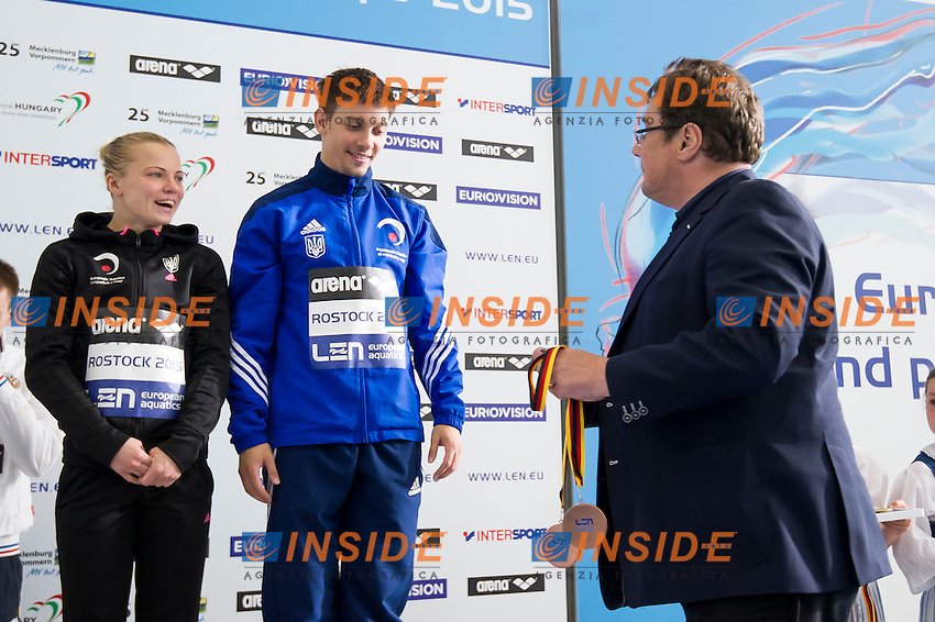 The medal ceremony<br /> Team Event Final<br /> Day 01 09/06/2015  <br /> 2015 Arena European Diving Championships<br /> Neptun Schwimmhalle<br /> Rostock Germany 09-14 June 2015 <br /> Photo Giorgio Perottino/Deepbluemedia/Insidefoto