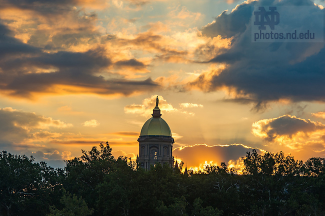 Sept., 5 2013; Golden Dome at sunrise. Photo by Barbara Johnston/University of Notre Dame