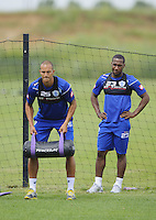 Junior Hoilett and Bobby Zamora of QPR in training